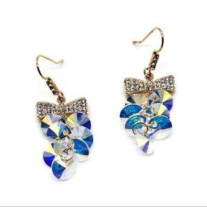 Lovely gold bow swarovski crystal hook earrings